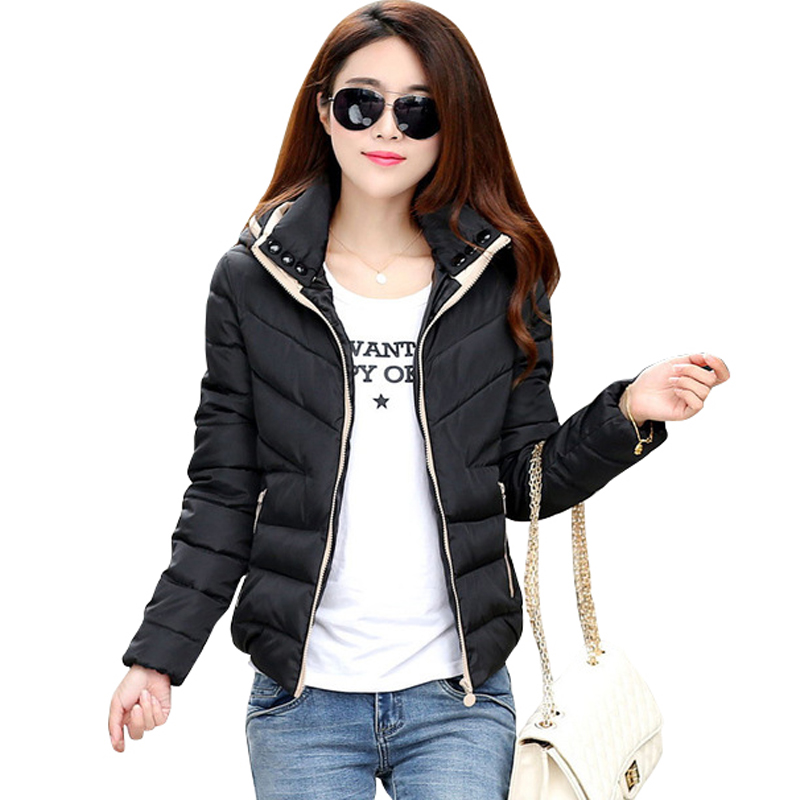 2019 New Parkas Jacket Wanita Autumn Winter Pendek Coats Kapas bertudung Kapas Padded Warm Pockets Wanita Jacket Coats