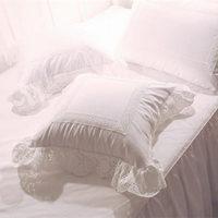 Europeu capa de almofada requintado flor do sol bordado laço de Cetim de algodão fronha da cama artesanal têxtil presente decorativo