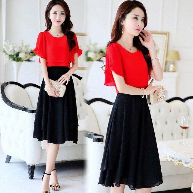 50cd5a0a7562d Cozimastarla Women Summer Chiffon Dress Female New Korean Style Fashion  Fake 2-piece Dress Slim