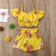 new fashion Toddler Kid Baby Girl set clothes Floral ruffles off shoulder Tank Tops+Short Pants 2Pcs set clothes(China)