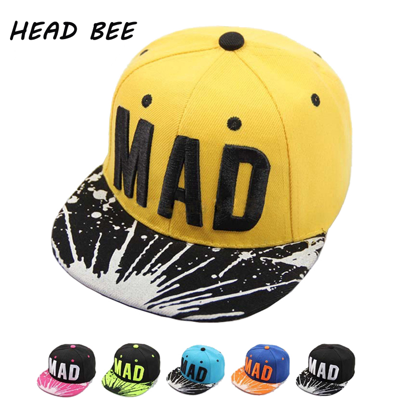 [HEAD BEE] 2018 Trend Hat Snapback Cap Children Embroidery MAD Letter Baseball Caps Kid Boys And Girls Flat Hip Hop Cap 2016 fashion kids cartoon snapback caps flat brim child baseball cap embroidery cotton cap baby boys girls peaked cap