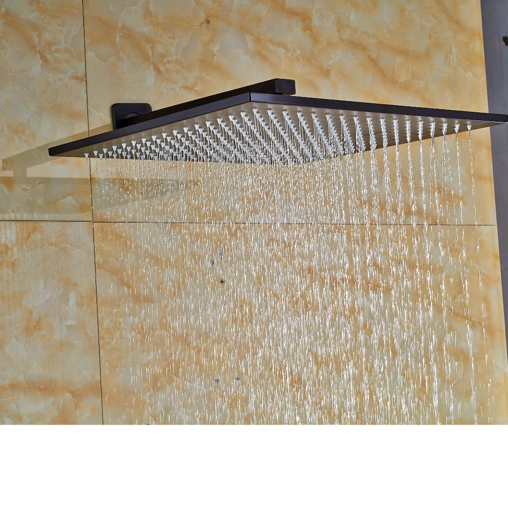 16-inch  Bathroom Top Shower Head Oil Rubbed Rainfall Over-head Sprayer with Shower Arm allen roth brinkley handsome oil rubbed bronze metal toothbrush holder
