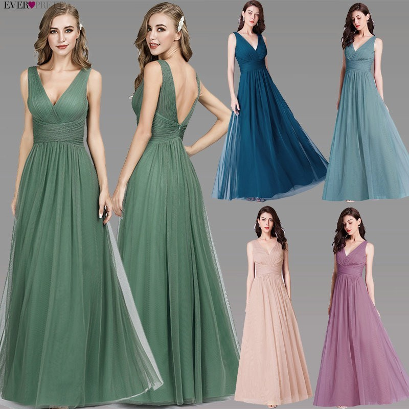 Elegant Tulle   Prom     Dresses   Ever Pretty V-Neck Sleeveless Formal   Prom     Dress   EP07526 Women Summer Party Gowns Vestidos Compridos