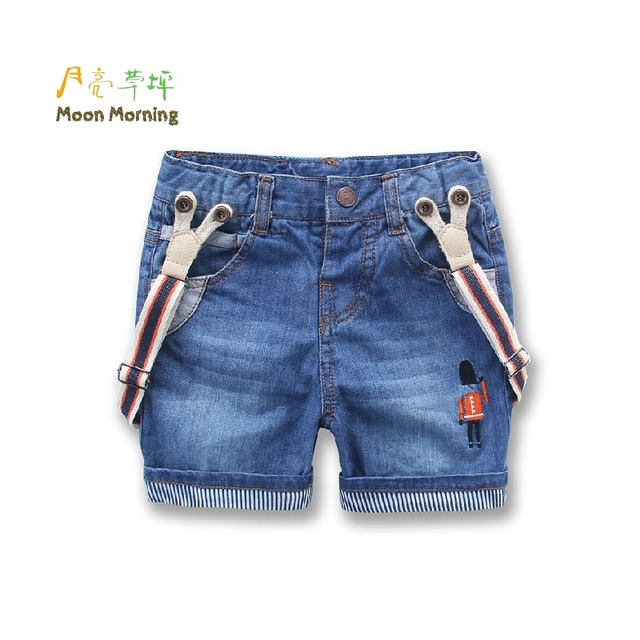 Moon Morning Kids Shorts Summer Denim Strech Pants 2T~9T Straight Button Fly Suspender Solider Embroidery New Children Trousers