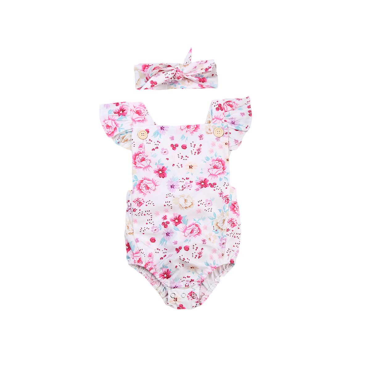 Cute Infant Baby Girls Clothes Foral Romper Jumpersuit+Headband 2Pcs sets Toddler Girls Summer Cotton Outfit