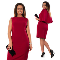 6XL Plus Size Summer 2018 Dress Women Solid Slim Dress Short Sleeve Office Business Dress Ruffles Elegant Sheath Party Vestidos