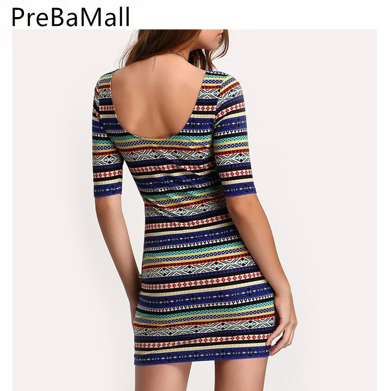 Ethnic Style Summer Dress Sexy Slim Print Women Dress 2019 Ladies Elastic Bodycon Party Mini Dresses Vestidos C25 in Dresses from Women 39 s Clothing