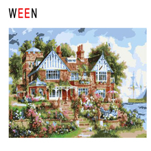WEEN Seaside Villa Diy Painting By Numbers Abstract Flower Garden Oil On Canvas Cuadros Decoracion Acrylic Wall Art