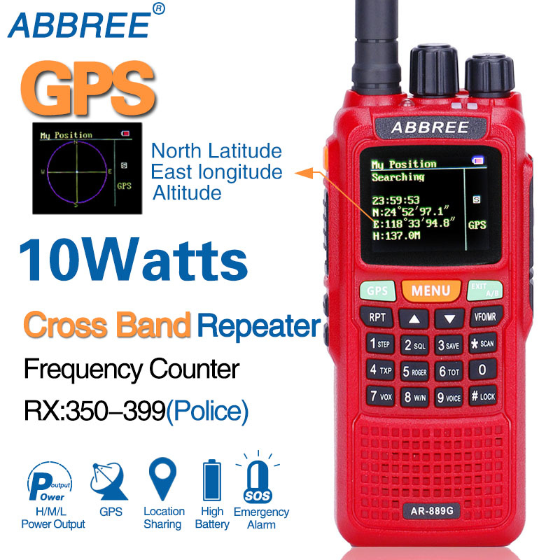 ABBREE AR 889G 10W GPS Walkie Talkie 3000mAh SOS 999CH Night Backlight Duplex Repeater Dual Band
