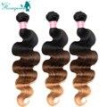 Brazilain Remy девственницы объемная волна ломбер наращивание волос три тона 1B / 4 / 27 3 шт./лот человеческие волосы соткать бразильский волна