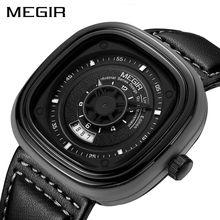 Megir oficial 2017 nueva top marca de relojes de lujo de los hombres relojes negro banda de cuero genuino reloj de pulsera de cuarzo reloj del calendario informal