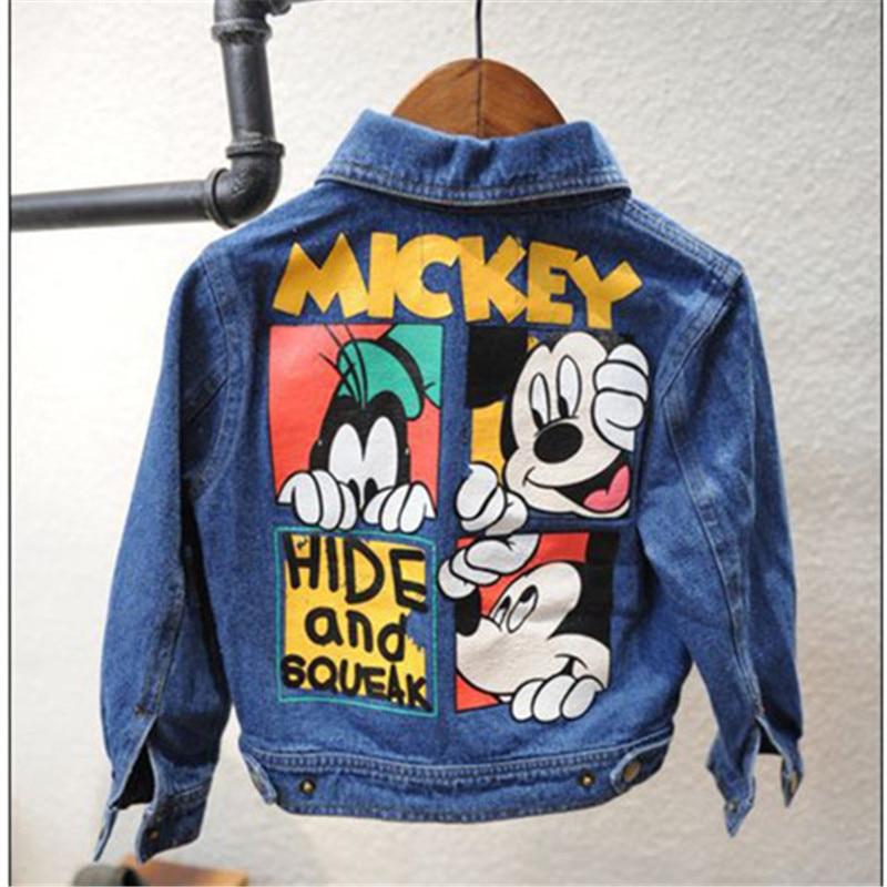2016 autumn new pattern children clothing baby girl boy jeans coat Cartoon pattern jacket warm Turn