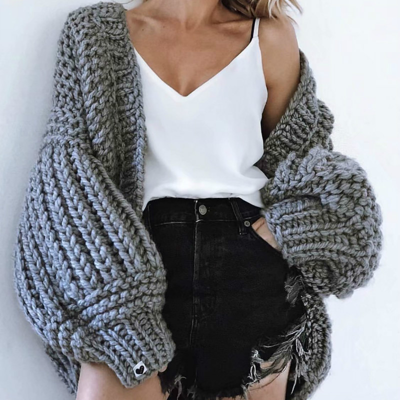 Chic Autumn Hand Knit Sweater Coarse Wool V Neck Lazy Rough Wool Lantern Sleeved Cardigan Batwing
