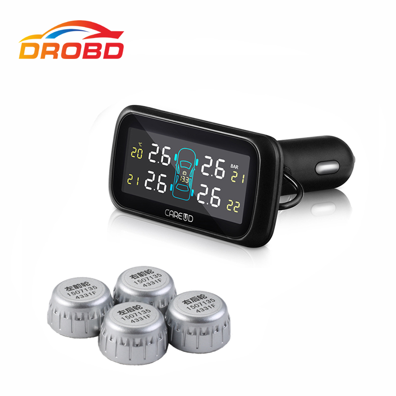 Tire Pressure Alarm Careud U903 4 External Sensors Min Sensor Tyre Pressure Monitoring System Car TPMS Tire Pressure Alarm DIY universal car auto tpms tire tyre pressure monitoring system led display with 4 external sensors