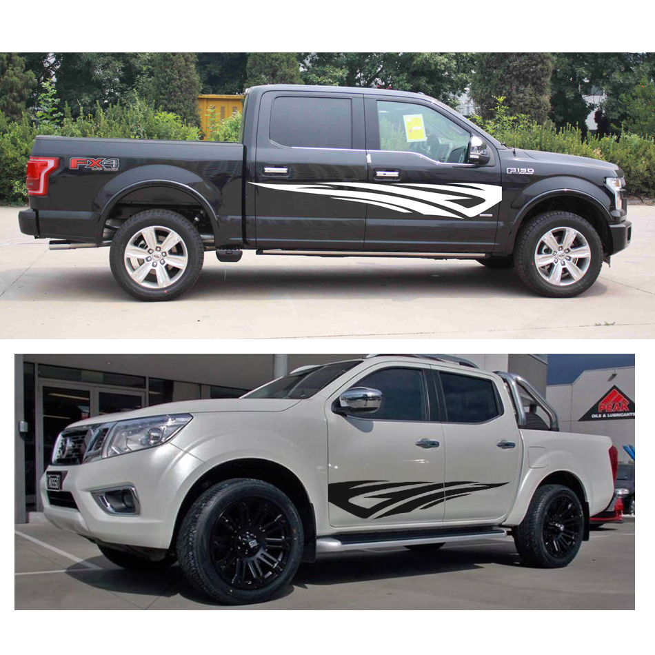 fire body rear tail side graphic vinyl for dmax adventure mud ranger F150 NAVARA PICKUP free shipping 2pc hexagon pattern abstract geometric body rear tail side graphic vinyl for toyota hilux vigo 2011 decals