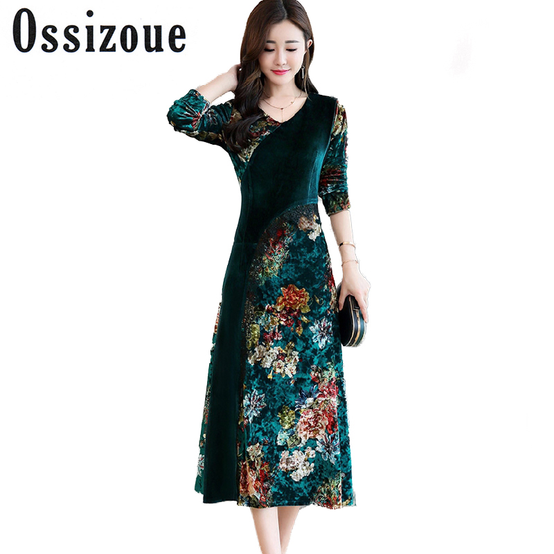 2018 Velvet long dress women autumn winter patchwork Vintage elegant retro maxi party runway dresses print floral chinese style