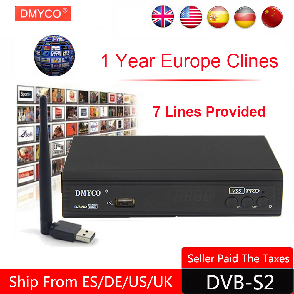 1 Year Europe C-line Server HD V9S Pro DVB-S2 lnb Satellite Receiver Full 1080P Italy Spain Arabic TV box With USB Wifi Receptor