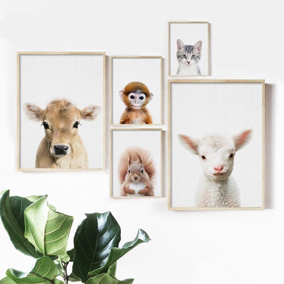 Animal Canvas /& Paint Art Set cow elephant giraffe dog cat lion mouse children