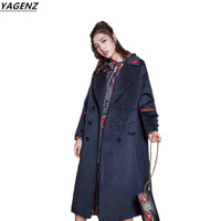 Female Windbreaker 2017 New Winter Fashion Thick Warm High Quality Woolen Coat Medium Length Solid Color
