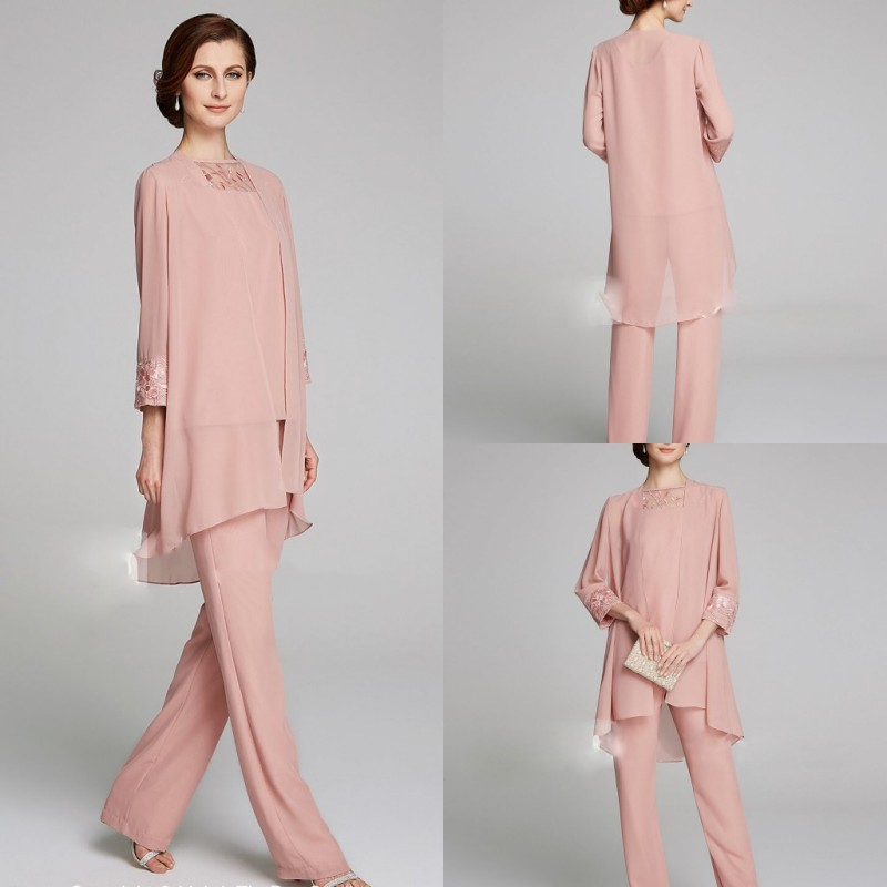 2019 Pink Mother Of The Bride Dresses Chiffon Long Sleeves 3 Pieces Pants Suits Evening Gowns Ankle Length Prom Party Dress
