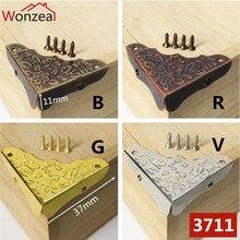 12pcs 37mm Book Corner Bronze Scrapbooking Albums Menus Folders Protectors Decoration Metal Crafting Box Corner Bracket