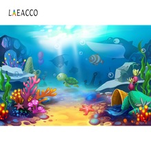 Laeacco Sea Fish Backdrops Coral Shell Underwater Baby Birthday Party Child Poster Photo Backgrounds Photocall Studio