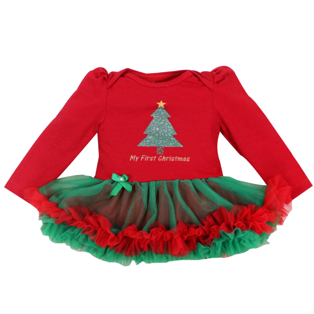 d275325627ecca Newborn Dress Baby Clothes Girls Christmas Rompers Ruffle Tutu Dresses Wine  My First Christmas Outfit for 0-24Months