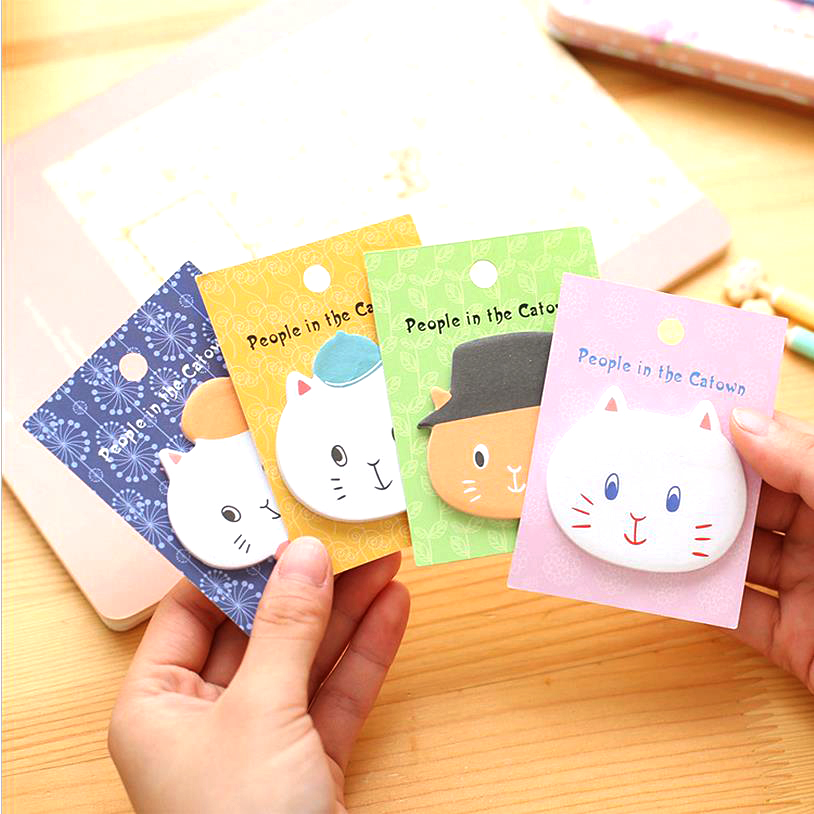1pcs Kawaii Korean Animal Cat Sticky Notes Post It Memo Pad Paper Kids School Office Supplies Bookmark Stationery Cute 01882 1pcs creative cute memo notes on paper blossoms stationery office can tear scratchpad bookmark notebook free shipping