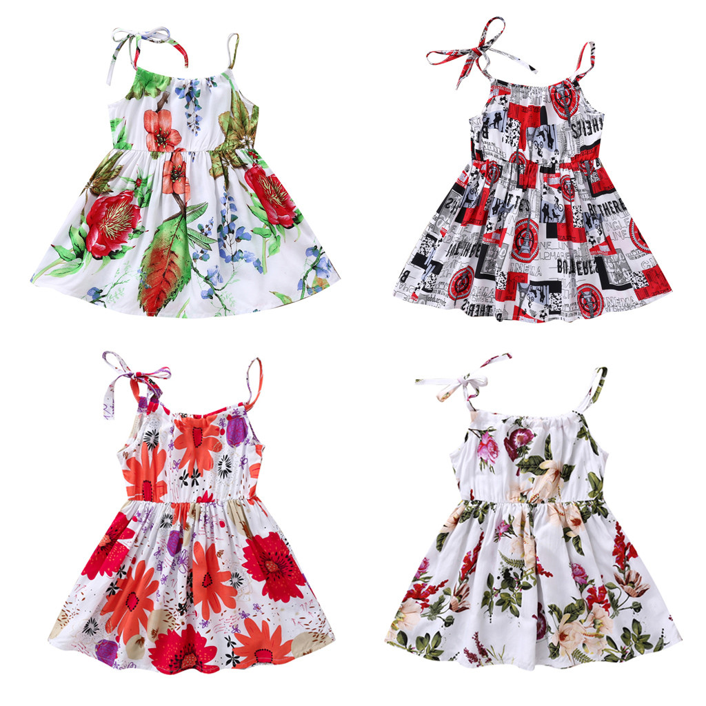 MUQGEW Summer Baby Girl Clothes Toddler Baby Girl Princess Floral Sunflower Beach Party Casual Dress Dropshipping Roupa Infantil
