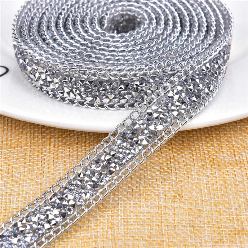 ... 2 Yard  15mm Hotfix Crystal black diamond Rhinestone Chain Trim Wedding  Crystal Appliques Resin Beads 53d4db4eb5a6