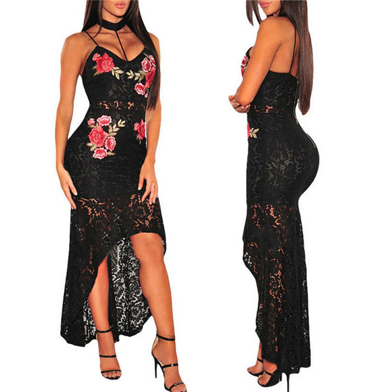 Vintage Womens Summer Spaghetti Strap Plunge Bodycon Dress Lace Rose Embroidery Ladies Irregular Hem Evening Party Long Dress