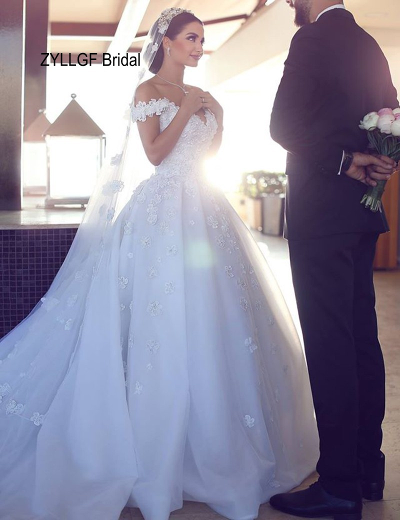 ZYLLGF Bridal Ball Gown Off Shoulder Wedding Dress Sweetheart Saudi ...