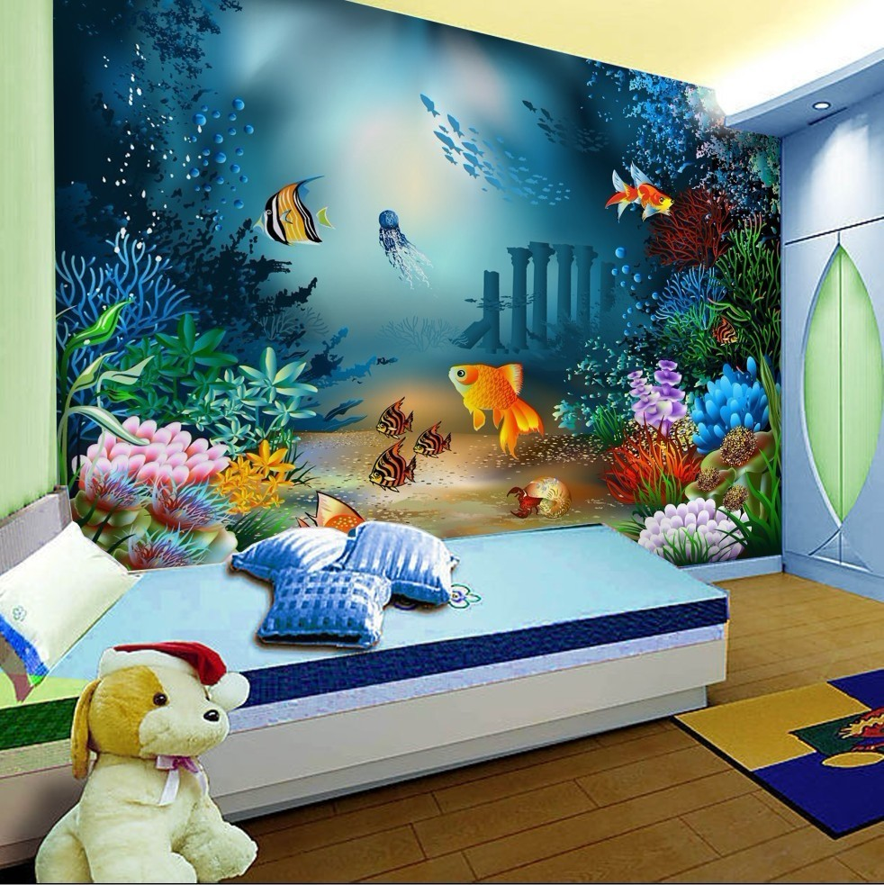 Wallpaper cartoon non woven children room self adhesive for Childrens mural wallpaper