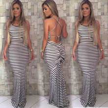 Women Summer Vintage Boho Long Maxi Evening Party Beach Dress Striped Sundress