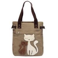 Bolso de lona de gato encantador para chicas bolso Casual de gran capacidad para Mujer bolso de hombro con cremallera sólido portátil para Mujer