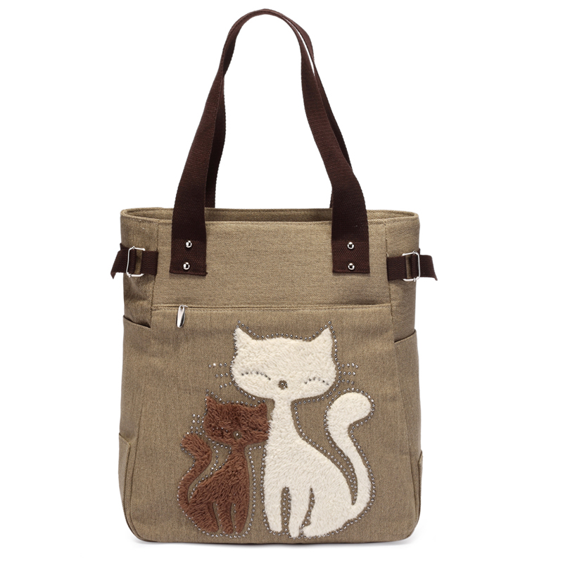 Lovely Cute Cat Canvas Handbag For Girls Ladies Large Capacity Casual Bag Women Portable Solid Zipper Shoulder Bag Bolsos Mujer