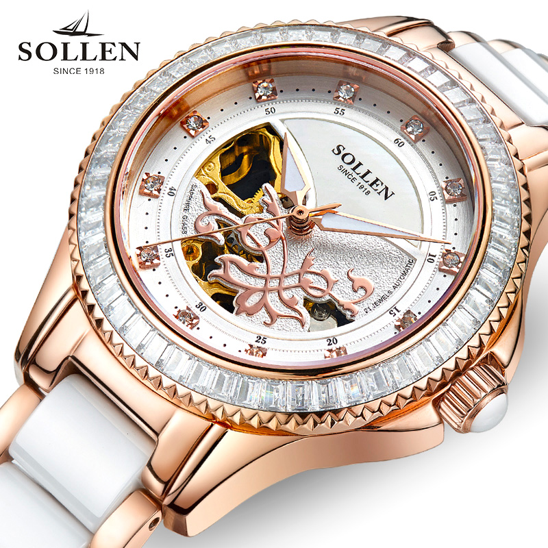 SOLLEN Brand Women Watches Fashion Mechanical Watch Lady Ceramics Band Ladies Simple Waterproof Casual Clock Relogio Feminino shenhua brand women watches skeleton mechanical watch white leather band ladies simple fashion casual clock relogio femininos