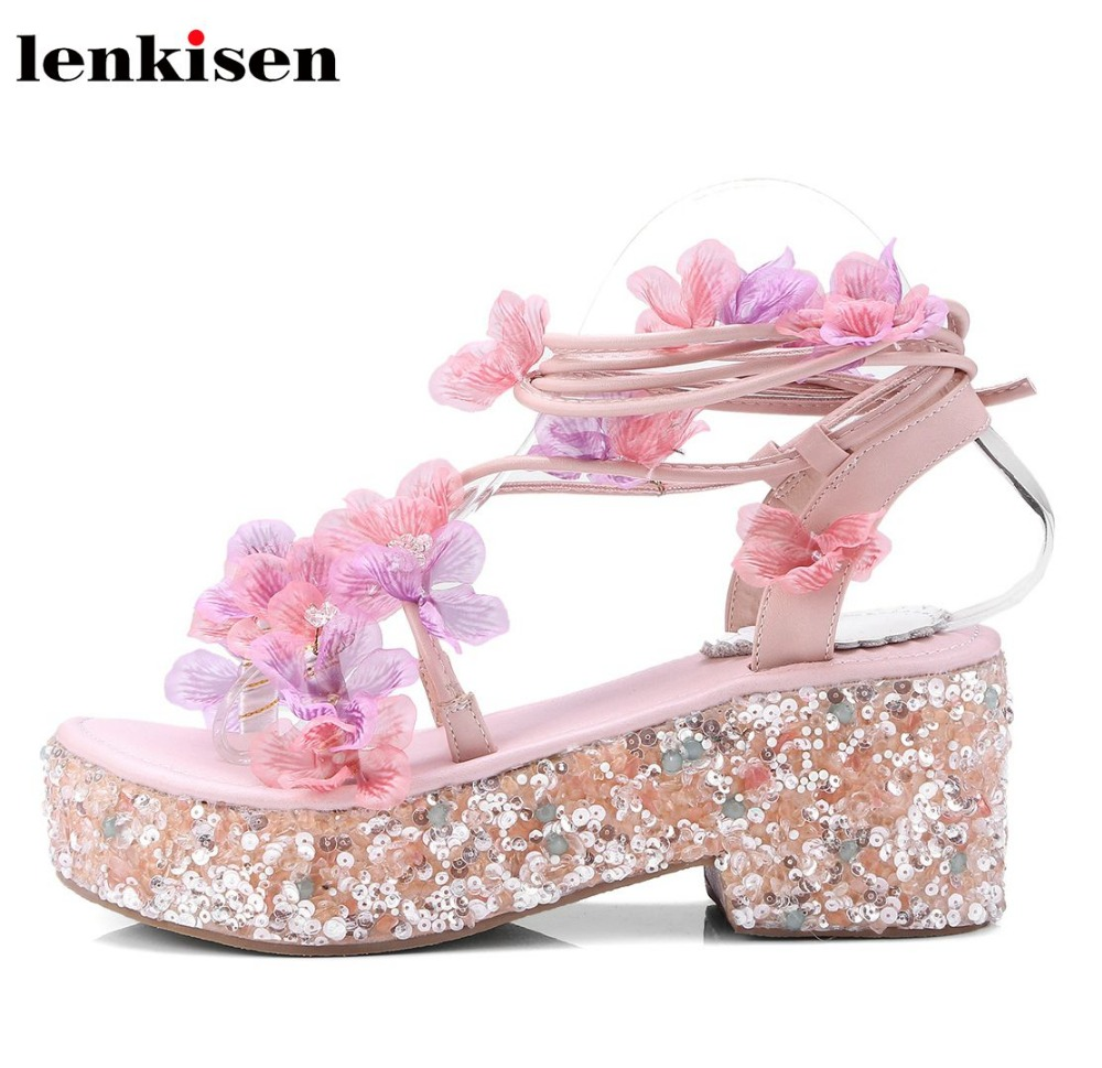 Lenkisen sweet princess style round toe lace up full grain leather ankle strap cross-tied causal shoes wedges women sandals Lhf1