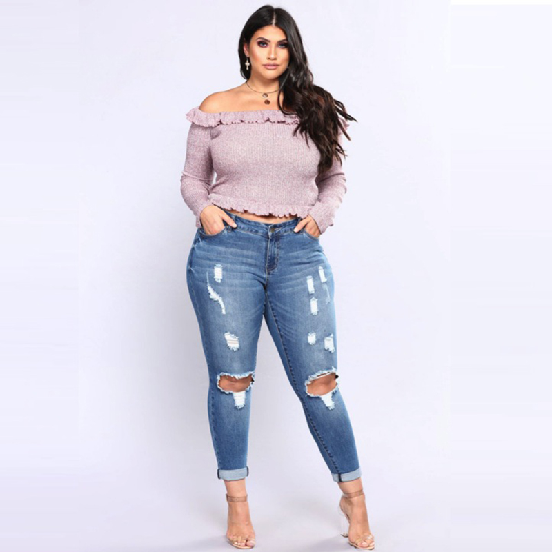 Stretchy Stretch Jeans Women High Waist Skinny Pencil Blue Denim Pants Women Ripped Hole Elastic Jeans Women 5XL 6XL 7XL Big Hip