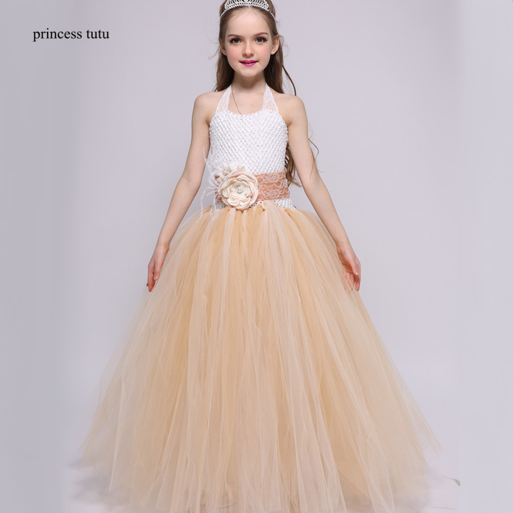 Princess Tutu Vintage Flower Girl Dresses Champagne Lace Tulle Ball Gown Girls Kids Wedding Dress Child Prom Pageant Party Dress muababy big girls princess dress summer children flower sleeveless tulle prom party dresses kids girl wedding evening ball gown