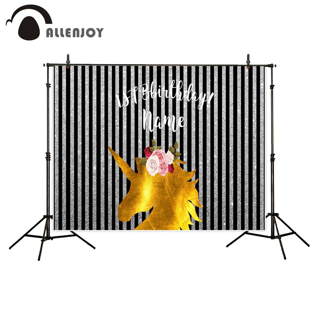 Allenjoy Birthday Party backdrop Golden Unicorn Silver Black Stripes Custom Background photography Background for photo