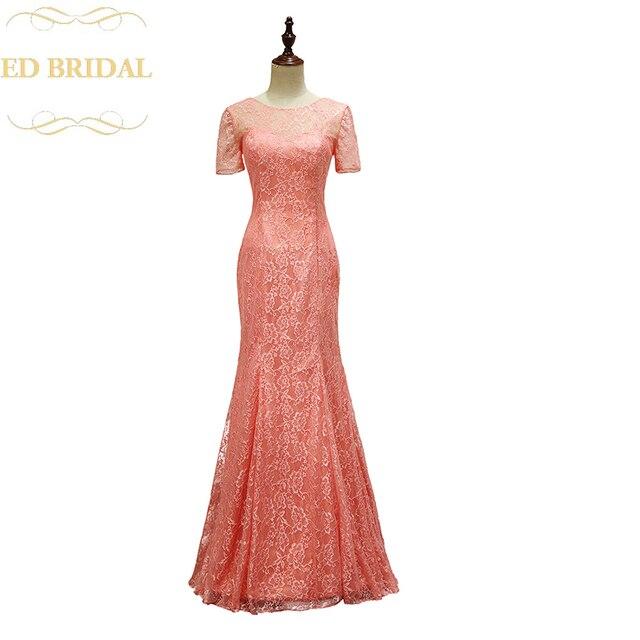 Kurzen Ärmeln Spitze Meerjungfrau Lange Coral Brautjungfer Kleid ...
