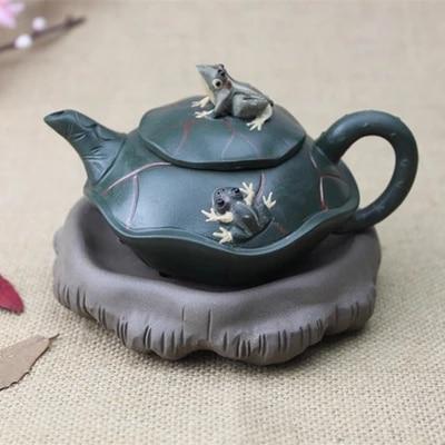 220mL Purple clay teapot Chinese kungfu Tea set Lotus leaf Frog Creative Boutique Strange pot Yixing Zisha pot|Teapots| |  - title=