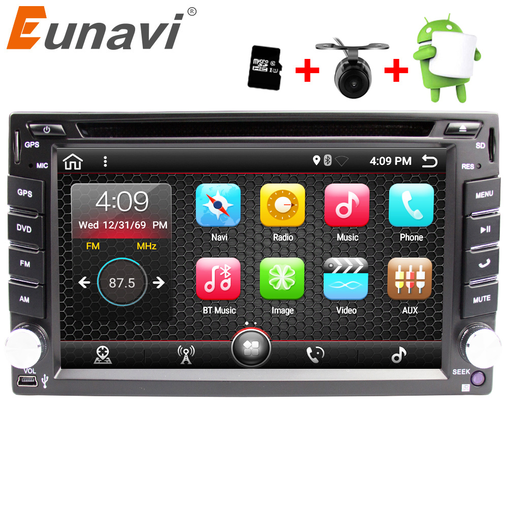 Eunavi Universal 2 Din Android 7.1 Car Dvd Player GPS + wifi + bluetooth + radio + quad Core + ddr3 + Capacitive Touch Screen + carro Pc + stereo