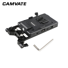 CAMVATE Camera Video V Lock Battery Plate Quick Release Mounting Plate Kit With 15mm Rod Clamp For DLSR Camera Support System