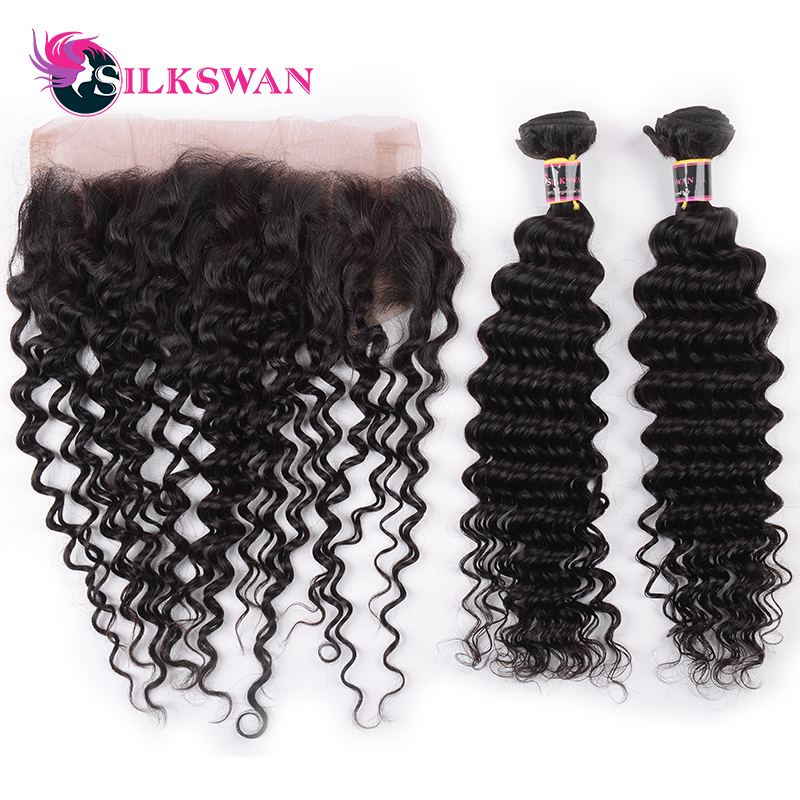 Silkswan 2 Bundles With 360 Lace Frontal Closure Pre Plucked Deep Wave Lace Frontal 360 Peruvian Human Remy Hair Natural Color