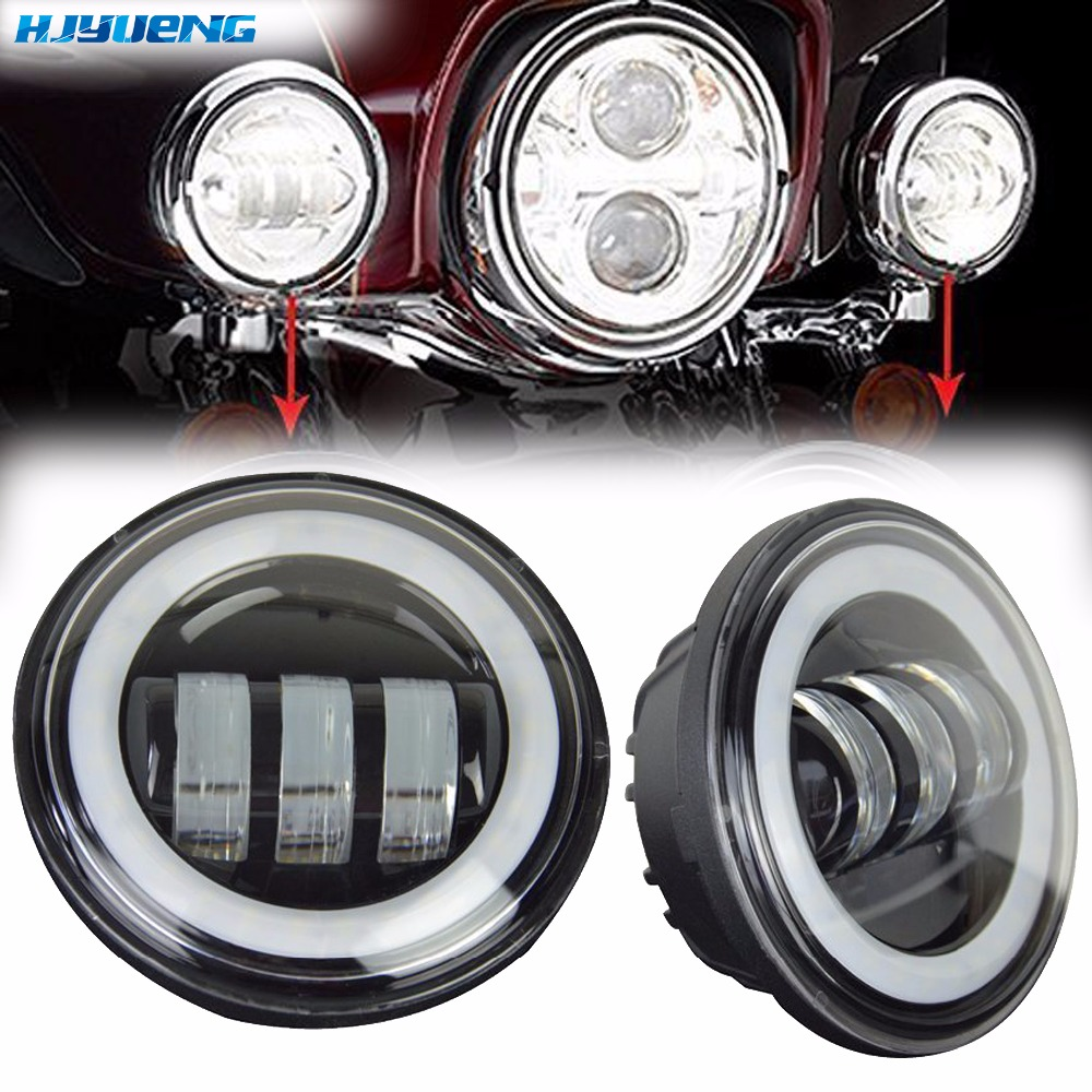 30w 4.5 for Harley Touring Road King Electra Glide LED Auxiliary Spot Light Fog Lamp Running Light 4-1/2 inch Moto Fog Lamp