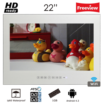 Souria 22 inch Frameless Smart Android Waterproof Flat Screen Magic Mirror Bathroom TV Water Resistant Shower TV