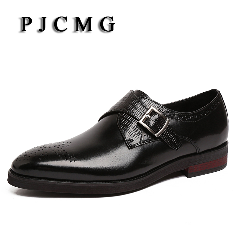 Luxury Brand PJCMG Genuine Leather Men Business Slip-On Dress Oxford Men Chaussure Homme Marque Crocodile Pattern Men Shoes branded men s penny loafes casual men s full grain leather emboss crocodile boat shoes slip on breathable moccasin driving shoes