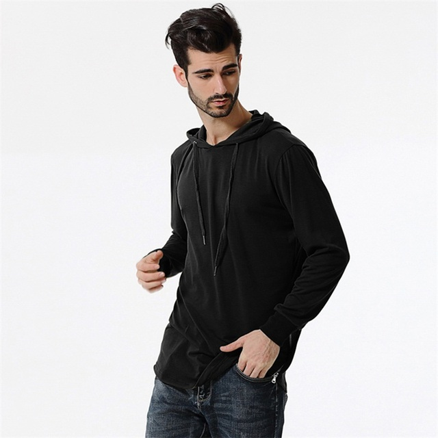 93682a1a584eeb Men's Fashion Hooded Long Sleeve T Shirt Solid Black Camouflage oversized T- shirts Cotton Hip Hop Streetwear Casual Winter 2017